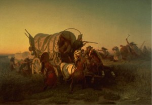 The Attack on the Emigrant Train (1856) by Charles Ferdinand Wimar