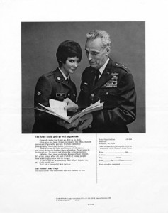 "The decorated general and smiling WAC cadet girl work together. It ran in Co-Ed magazine and Ingénue magazine in December 1969. N.W. Ayer Advertising Records, ""The Army Needs Girls,"" 1968, print ad, NMAH."